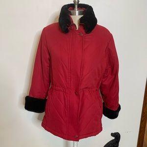 Talbots Petite Red Winter Coat w/ Faux Fur Sz P